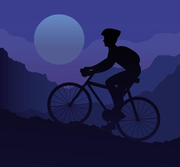 Siluetta di sport della bici di guida dell'atleta nella progettazione dell'illustrazione della montagna