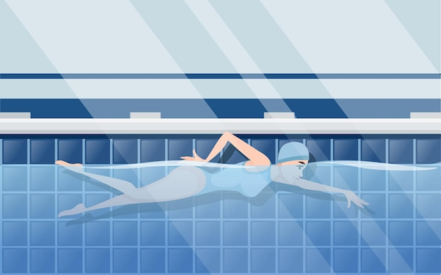 Donna dell'atleta in costume da bagno blu che nuota nella disposizione orizzontale di disegno del personaggio dei cartoni animati di stile strisciante della piscina professionale con l'illustrazione piana di vettore di vista laterale dell'acqua