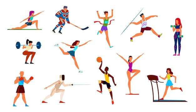 Set di atleti. ginnasta e corridore, pugile e pattinatore artistico, giocatore di basket e giocatore di hockey.