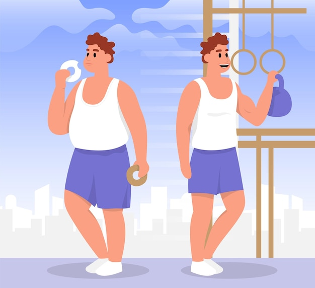 Uomo atletico e grasso obesità stile di vita sano e malsano