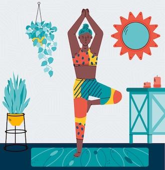 Carattere femminile atletico che si esercita a casa, illustrazione del fumetto.