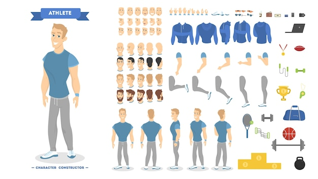 Set di caratteri uomo atletico per l'animazione con vari punti di vista, acconciature, emozioni, pose e gesti. set di attrezzature scolastiche. illustrazione vettoriale isolato