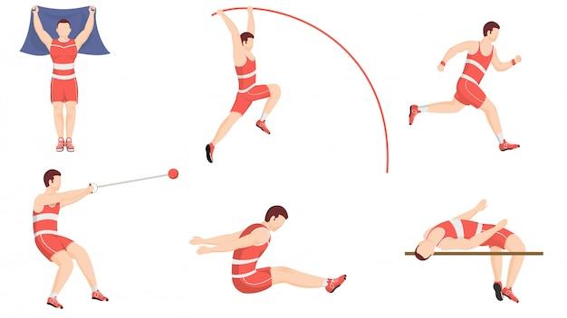 Esercizio di atletica leggera o sport di atletica leggera in diverse pose.