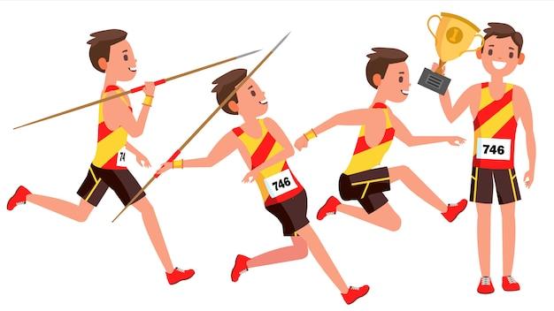 Vettore del giocatore maschio di atletismo. giocare in diverse pose. atleta uomo. personaggio dei cartoni animati isolato