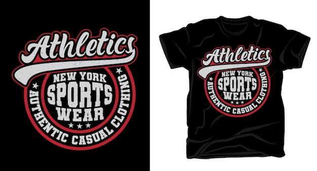 Gli sport di atletica leggera indossano il design della t-shirt di tipografia varsity