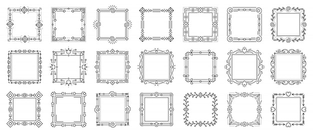 Set di cornici ornamentali vintage ative, cornici di testo per certificato, libro di menu, carta di matrimonio.