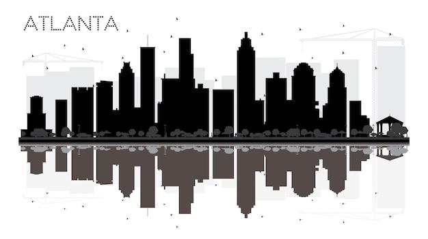 Siluetta in bianco e nero dell'orizzonte di atlanta city con le riflessioni. illustrazione vettoriale. semplice concetto piatto per presentazione turistica, banner, cartellone o sito web. paesaggio urbano con punti di riferimento.