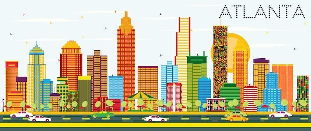 Orizzonte di atlanta con edifici di colore e cielo blu. illustrazione di vettore. viaggi d'affari e concetto di turismo con architettura moderna. immagine per presentazione banner cartellone e sito web.