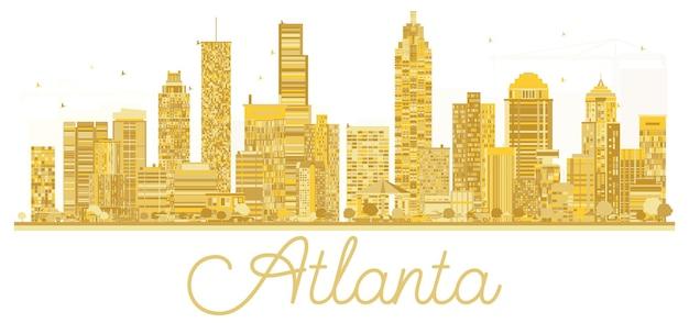 Siluetta dorata dell'orizzonte della città di atlanta usa. illustrazione vettoriale. paesaggio urbano con punti di riferimento.