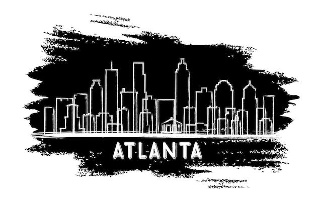 Siluetta dell'orizzonte di atlanta usa. schizzo disegnato a mano. viaggi d'affari e concetto di turismo con architettura moderna. illustrazione di vettore.