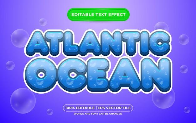 Stile modello effetto testo modificabile oceano atlantico