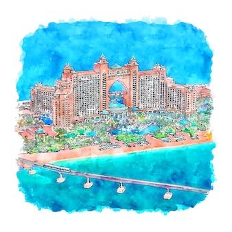 Illustrazione disegnata a mano di schizzo dell'acquerello di atlantis the palm dubai emirati arabi uniti