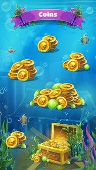 Rovine di atlantide - finestra di monete in formato mobile illustrazione vettoriale.