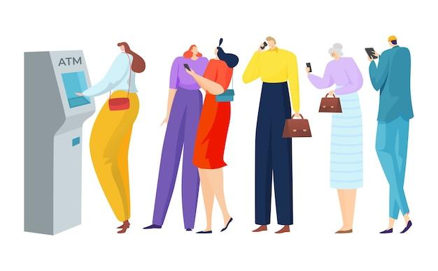 Coda di banca bancomat per carattere persona uomo donna con illustrazione di contanti