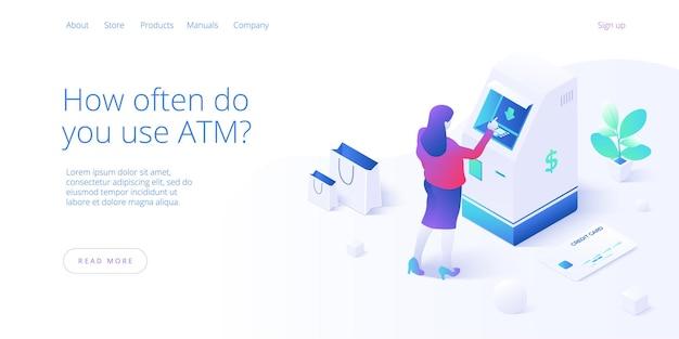 Concetto di macchina atm. la donna si ritira dal bancomat o dal trasferimento di denaro online.