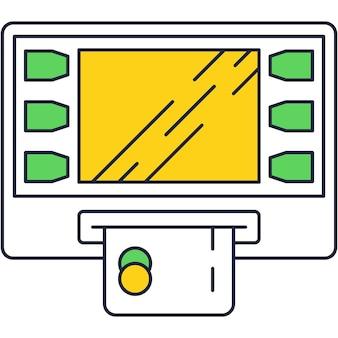 Icona piana di contorno della macchina di pagamento atm. paga tramite il vettore del dispositivo terminale pos. utilizzo della carta di credito bancaria per la transazione elettronica, illustrazione della tecnologia nfc