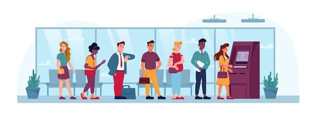 Atm coda persone al coperto in fila in banca in attesa di prelevare denaro vettore persone piatte in coda