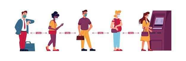 Persone in coda al bancomat nella linea di distanza sociale covid