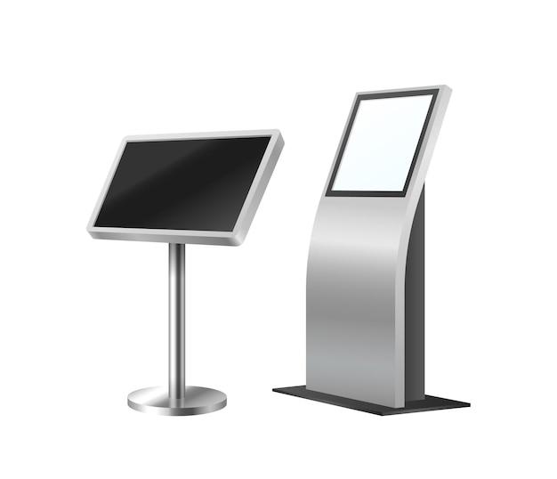 Bancomat e chiosco self-order. set di sistemi terminali digitali. attrezzatura di pagamento moderna realistica per il modello 3d dell'ordine del cliente. illustrazione vettoriale