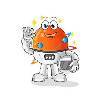 Atom astronauta sventolando carattere.
