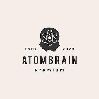 Illustrazione d'annata dell'icona di logo dei pantaloni a vita bassa della testa del cervello dell'atomo