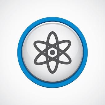 Atomo lucido con icona tratto blu, cerchio, isolato