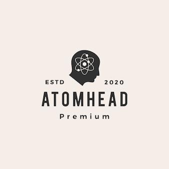 Illustrazione d'annata dell'icona di logo dei pantaloni a vita bassa della testa dell'atomo