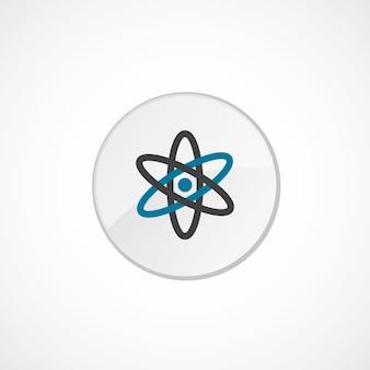 Icona dell'atomo 2 colorata, grigia e blu, distintivo del cerchio