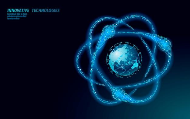 Sospensione di particelle di atomo sulla mappa del mondo. il pericolo globale di armi militari nucleari. sicurezza atonica della sicurezza del paese. illustrazione di concetto di trattato di violenza internazionale del braccio di nuke