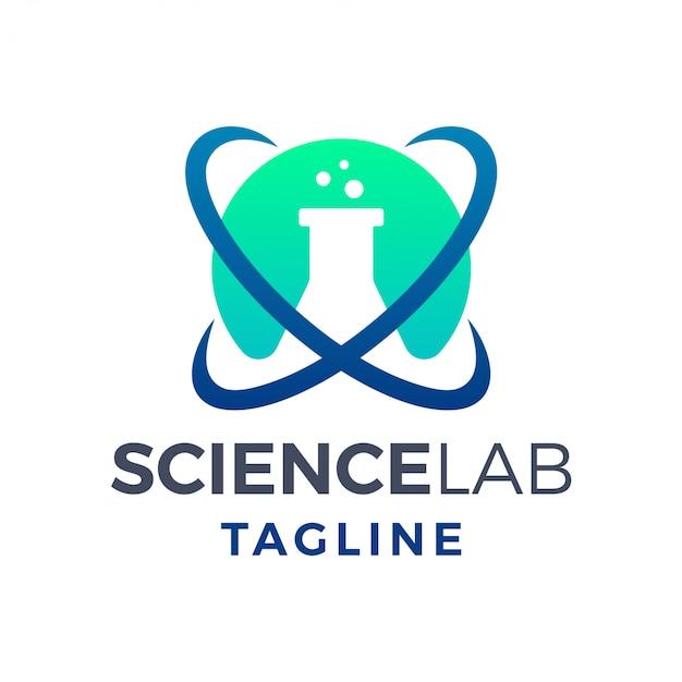 Logo moderno semplice laboratorio di scienza atomica