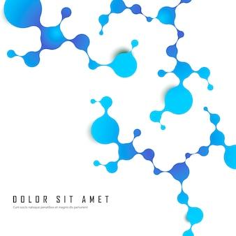 Atomi e struttura molecolare con particelle sferiche collegate blu. chimica, medicina e tecnologia