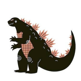 Attacco rettile gigante vettore. mostro in città. dinosauro clipart
