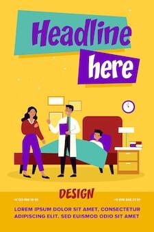 Assistente medico che parla con la madre preoccupata. bambino, letto, influenza piatta illustrazione vettoriale