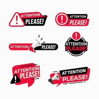 Attenzione prego distintivi illustrazione del riquadro di avvertimento messaggio importante