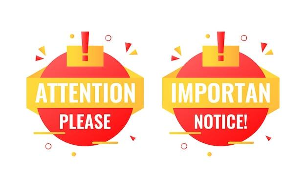 Attenzione per favore e banner etichetta badge avviso importante