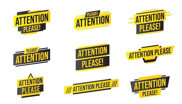 Attenzione per favore set di adesivi. elemento di design con annuncio di informazioni importanti
