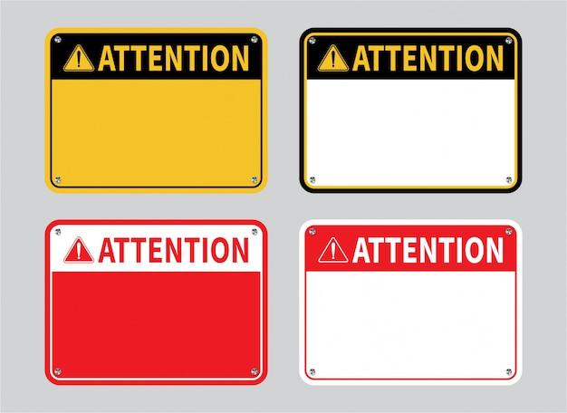 Set di segni di attenzione.