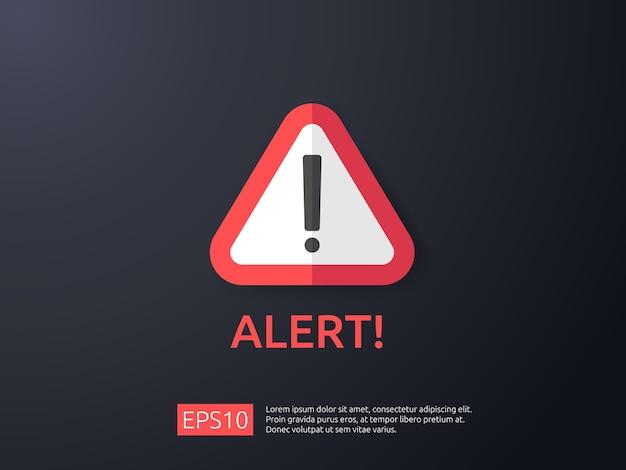 Attenzione avvertimento segnale di allarme con punto esclamativo