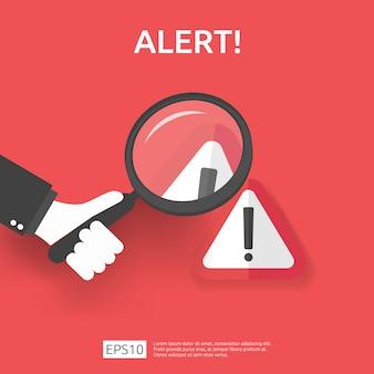 Attenzione avviso attaccante segnale di avvertimento con punto esclamativo. attenzione all'allerta del simbolo di pericolo di internet. icona linea scudo per vpn. concetto di protezione di sicurezza informatica tecnologia. illustrazione.