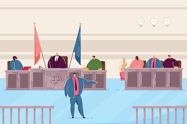Avvocato che parla in aula. giudice e avvocati che giudicano nell'illustrazione piana di vettore di prova. giustizia, concetto di diritto per banner, progettazione di siti web o pagina web di destinazione