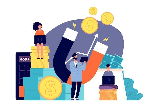 Attrarre investimenti. magnete della ricchezza, le persone attirano il denaro.