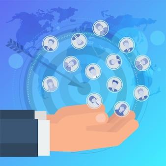 Attirare potenziali clienti. l'uomo attrae le persone. compagnia pubblicitaria. aumentare vendite e profitti. comunicazioni di marketing mirate al target di riferimento.