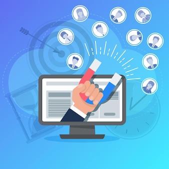 Attirare potenziali clienti. l'uomo con un enorme magnete attrae le persone. compagnia pubblicitaria. aumentare vendite e profitti. comunicazioni di marketing mirate al target di riferimento.