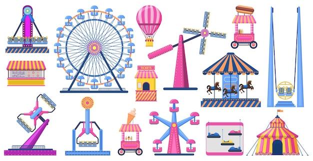Attrazioni parco festivo. attrazioni del parco di divertimenti, ruota panoramica, tendone da circo.