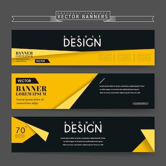 Bandiere attraenti impostano il design del modello con elementi origami