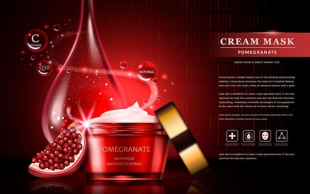 Ingredienti di frutta attraenti con pacchetto cosmetico e goccia di olio essenziale