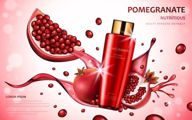 Ingredienti di frutta attraenti con pacchetto cosmetico ed effetti splash