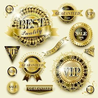 Attraente e splendida collezione di etichette dorate per uso al dettaglio