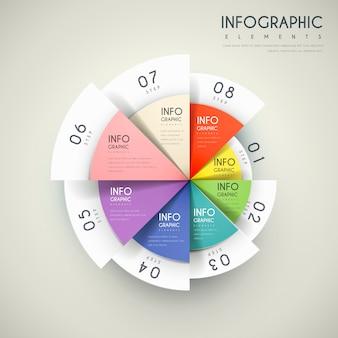 Attraente design infografico con elementi del grafico a torta