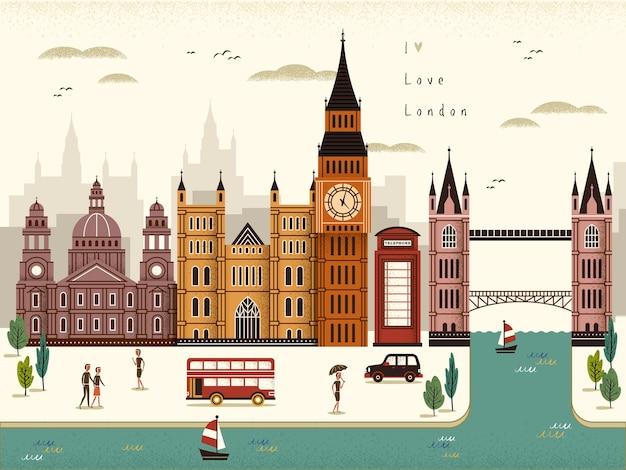 Illustrazione attraente di paesaggio di viaggio di londra in stile piano